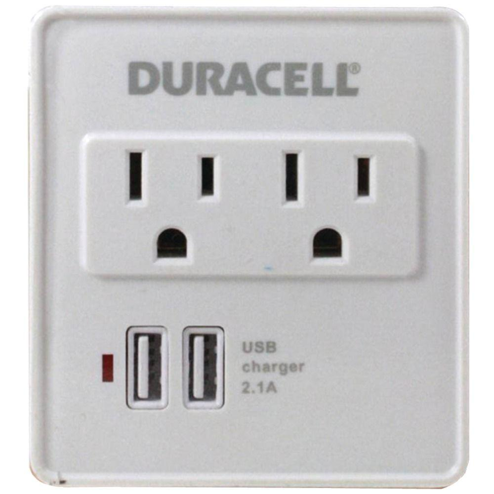 Duracell Dual Surge Protector with Dual USB Outlets - White