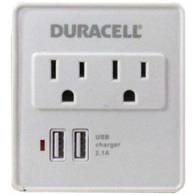 Dual Surge Protector with Dual USB Outlets - White