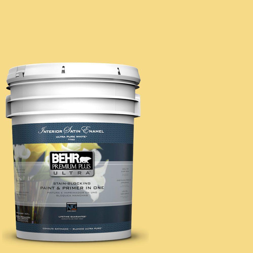 BEHR Premium Plus Ultra 5-gal. #390B-5 Bee Pollen Satin Enamel Interior Paint