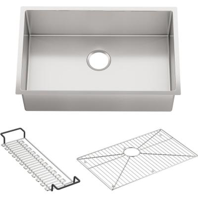 Strive Undermount Stainless Steel 29 in. Single Bowl Kitchen Sink Kit with Sink Rack