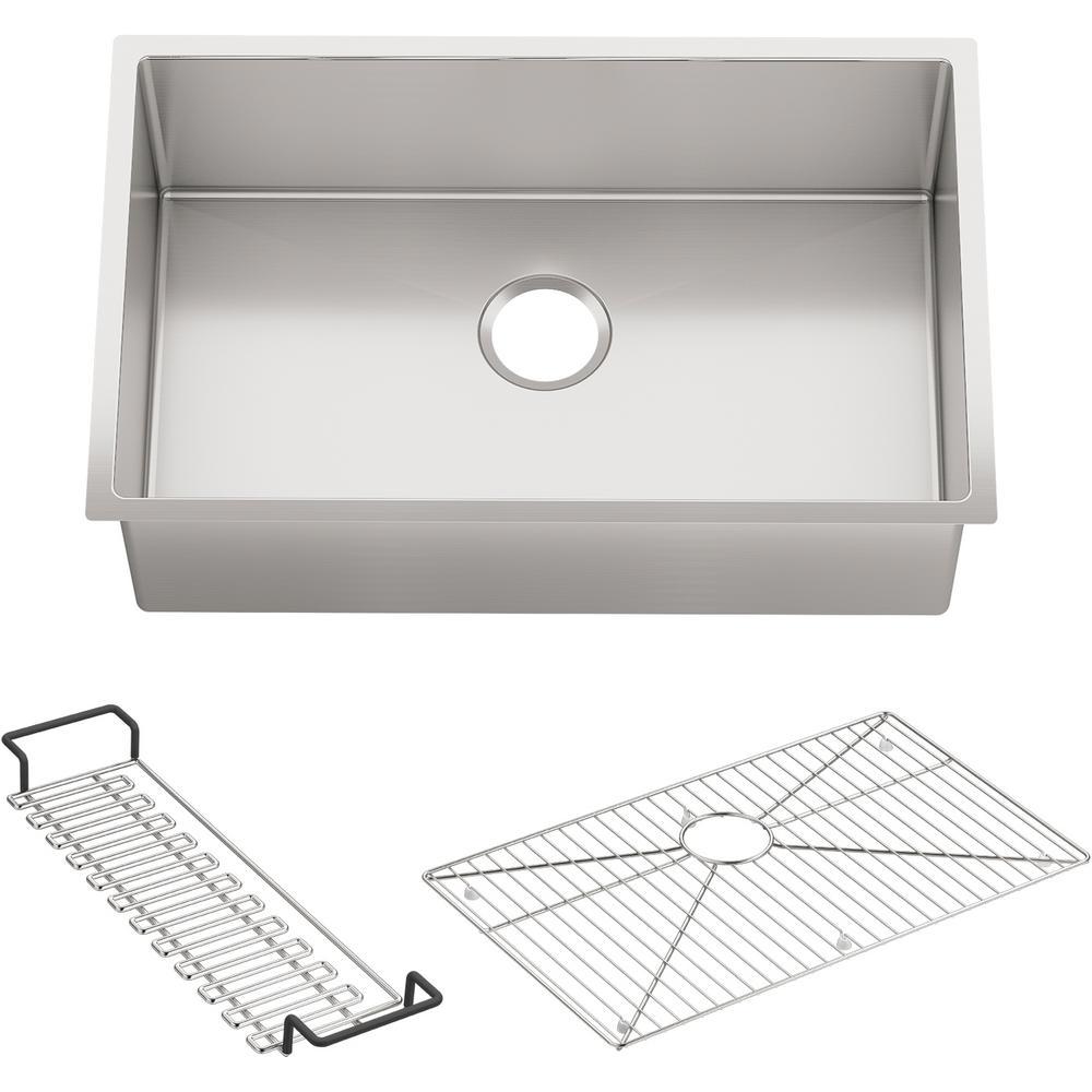 KOHLER Strive Undermount Stainless Steel 29 in. Single Bowl Kitchen Sink Kit with Sink Rack