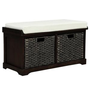 18.3 in. H Espresso Rustic Storage Bench with 2-Removable Classic Fabric Cushion
