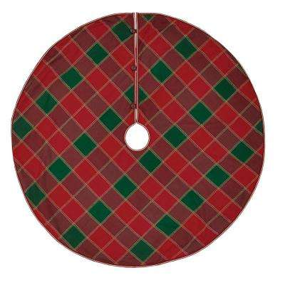 55 in. Tristan Cherry Red Traditional Christmas Decor Tree Skirt