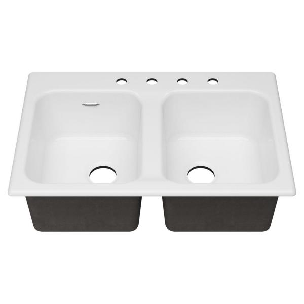 Quince Drop-in Cast Iron 33 in. 4-Hole Double Bowl Kitchen Sink in Brilliant White
