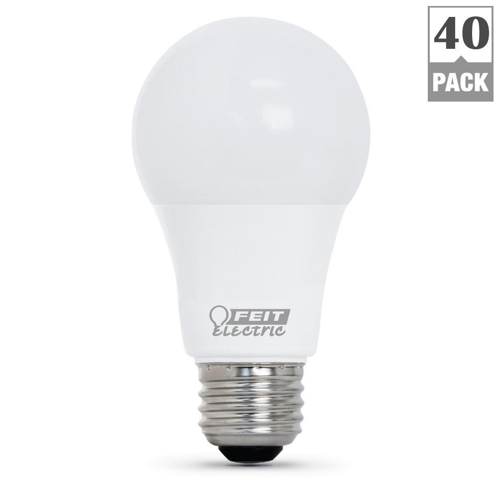 60W Equivalent Daylight (5000K) A19 LED Light Bulb (40-Pack)