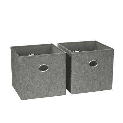 10.5 in. x 10 in. Gray Folding Storage Bin (2-Pack)