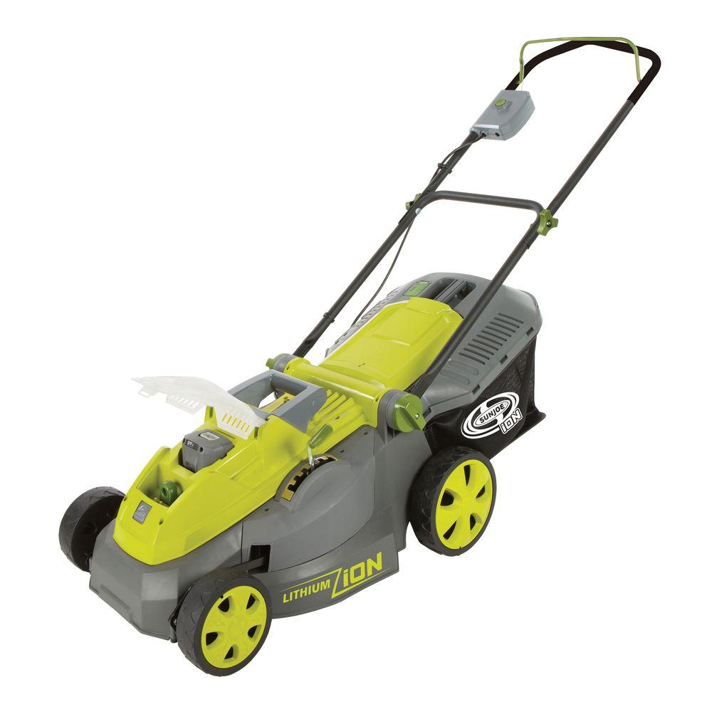 Sun Joe iON 16 in. 40-Volt Lawn Mower Cordless with Brush...