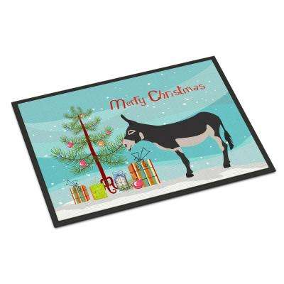 18 in. x 27 in. Indoor/Outdoor American Mammoth Jack Donkey Christmas Door Mat