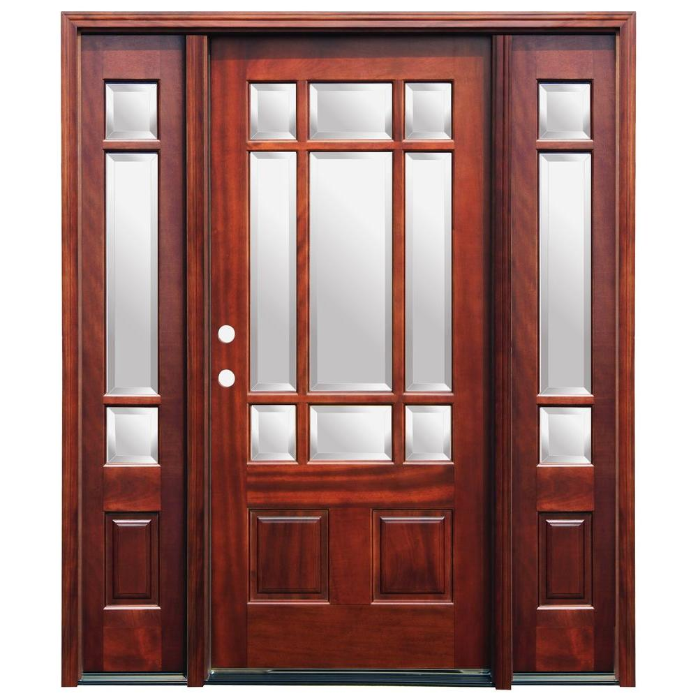 Pacific Entries 70 in. x 80 in. Craftsman 9 Lite Stained Mahogany Wood Prehung Front Door with 6 in. Wall Series and 14 in. Sidelites