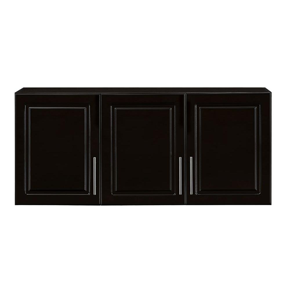 Hampton Bay Select 12 in. D x 54 in. W x 24 in. H 3-Door MDF Wall Cabinet Wood Closet System in Espresso