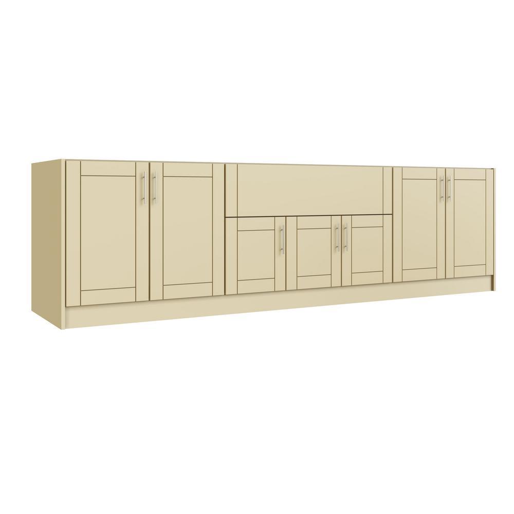 Tampa Bluff Beige 17-Piece 120 in. x 34.5 in. x 27 in. Outdoor Kitchen Cabinet Set