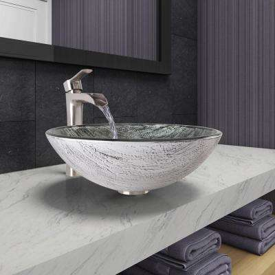 Vessel Sink in Titanium and Niko Faucet Set in Brushed Nickel