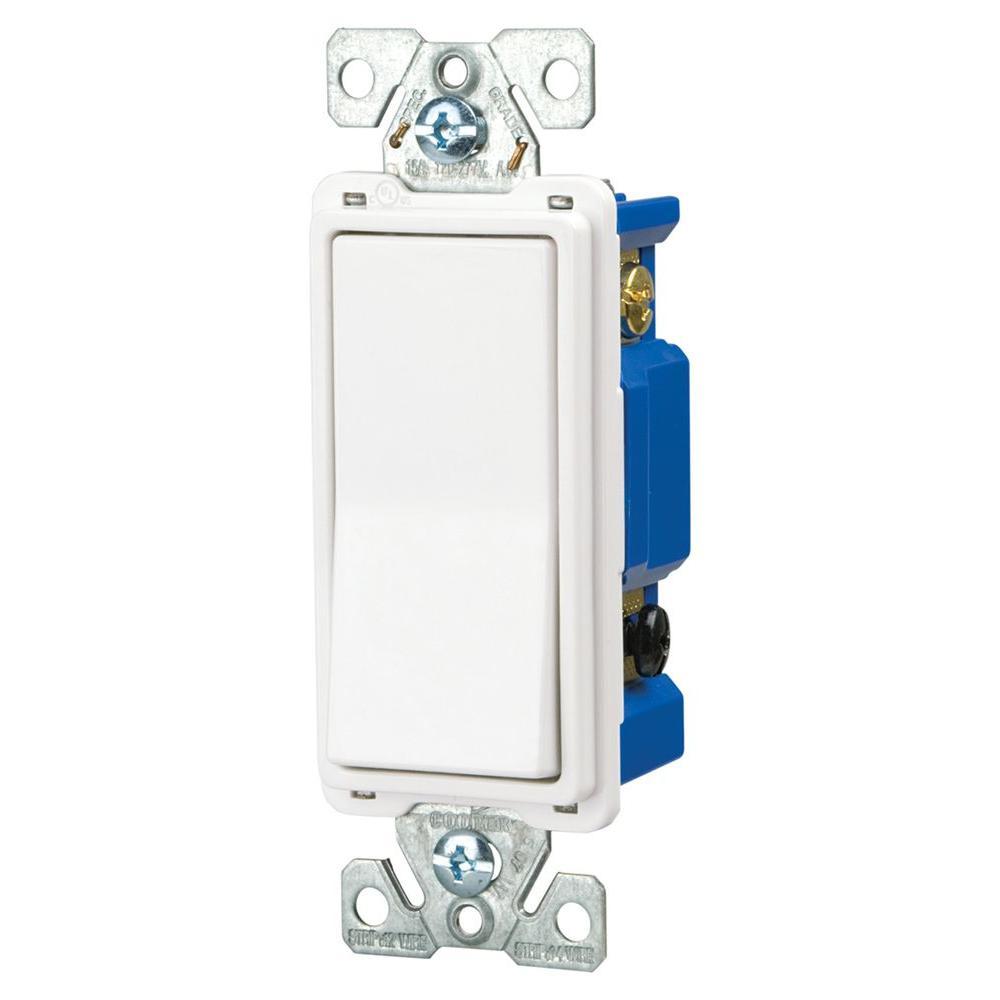 15 Amp 4-Way Rocker Decorator Switch, White