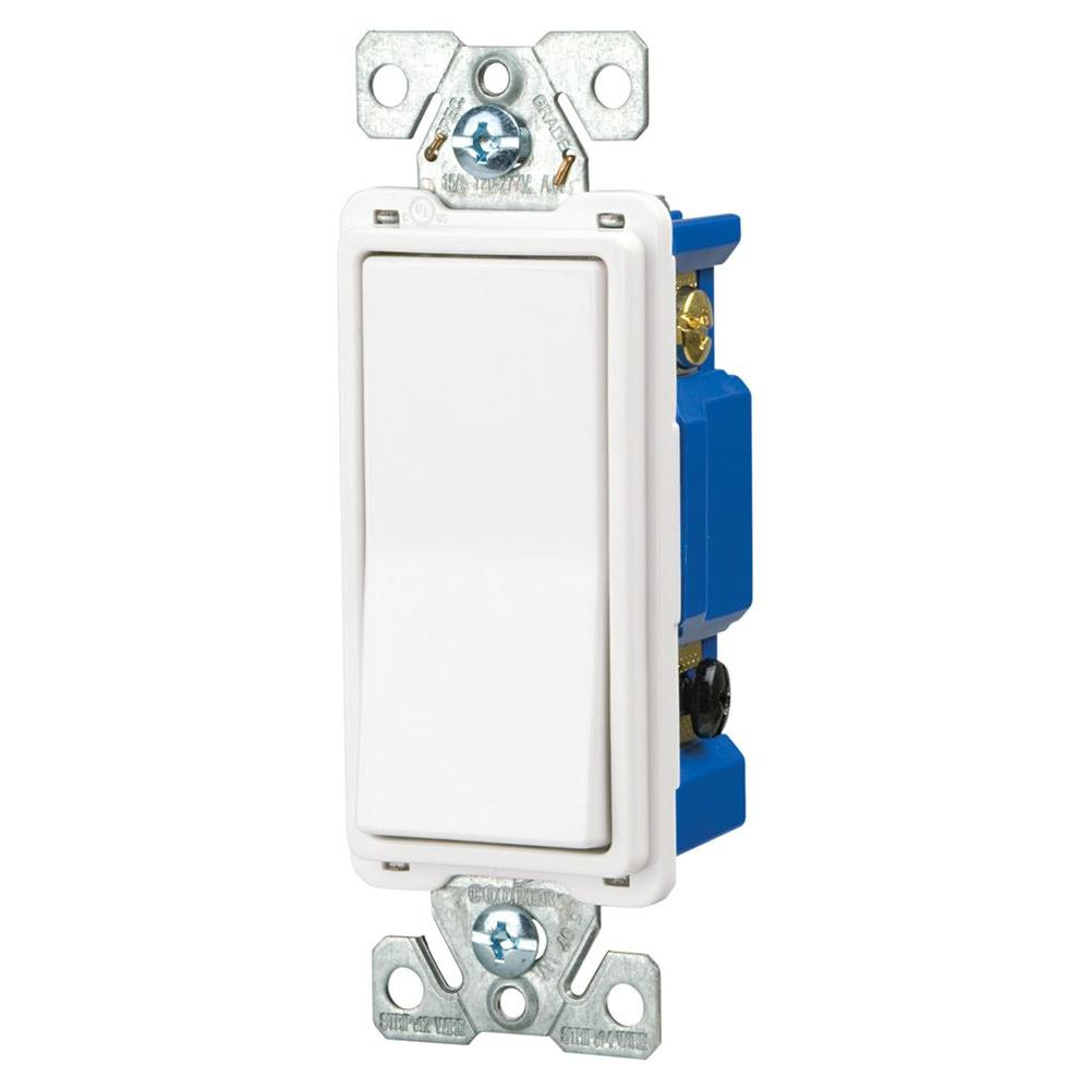 15 Amp 4-Way Rocker Decorator Switch, White
