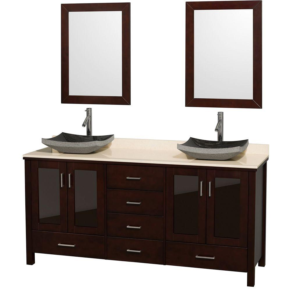 Wyndham Collection Lucy 72 in. Vanity in Espresso with Marble Vanity Top in Ivory with Black Granite Sinks and Mirrors