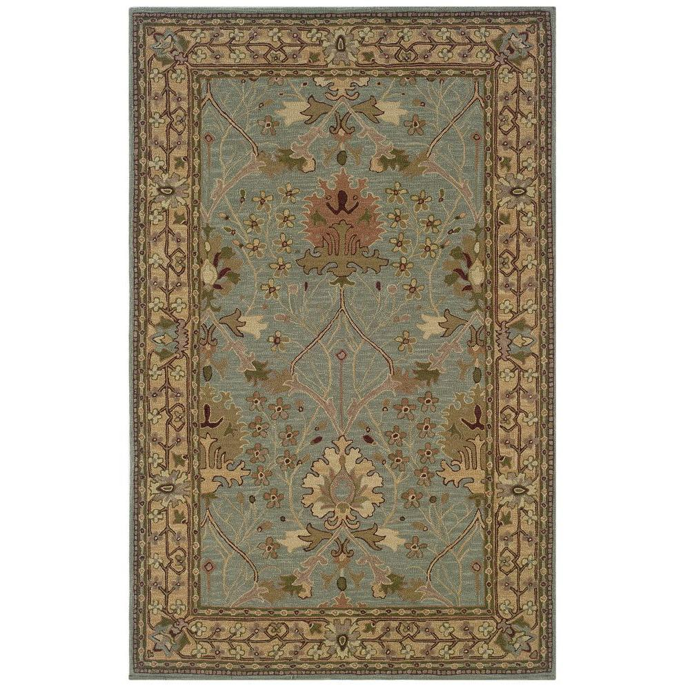 Linon Home Decor Soumak Collection Ice Blue and Pale Gold 4 ft. x 6 ft. Indoor Area Rug