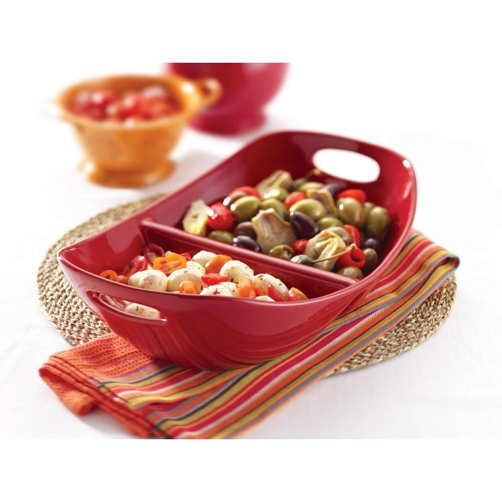Rachael Ray 14 in. Divided Dish with Handles in Red