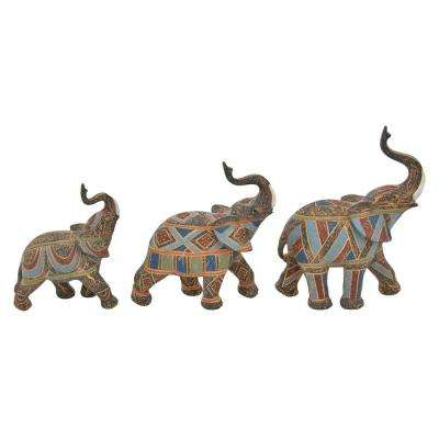 10.5 in. Resin Elephant Tabletop in Multi-Colored (Set of 3)