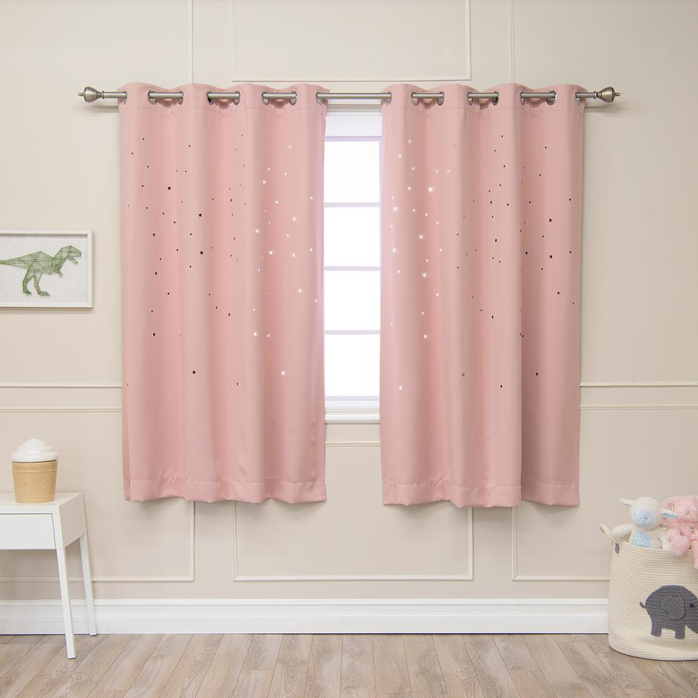 L Star Cut Out Blackout Curtains In Dusty Pink