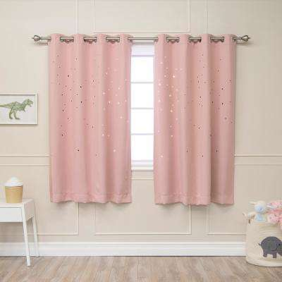 63 in. L Star Cut Out Blackout Curtains in Dusty Pink (2-Pack)