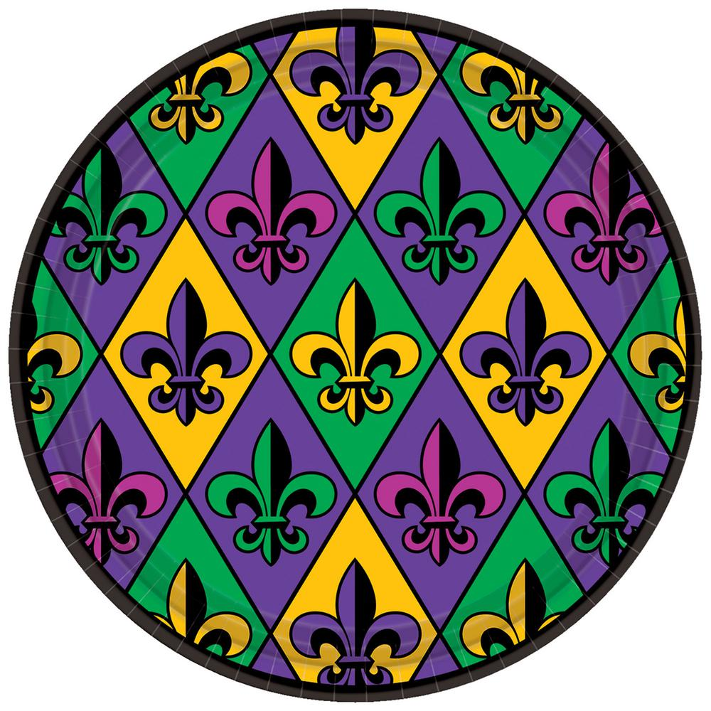 Paper Mardi Gras Plates (  sc 1 st  The Home Depot & Amscan Fleur De Lis 9 in. x 9 in. Paper Mardi Gras Plates (3-Pack ...