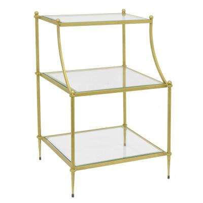 Gold Metal Rack with Glass
