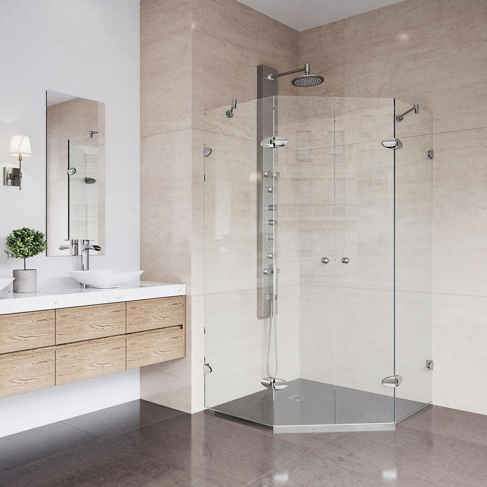 Vigo Gemini 45 625 In X 73 375 Frameless Neo Angle Shower Enclosure Brushed Nickel With Clear Gl
