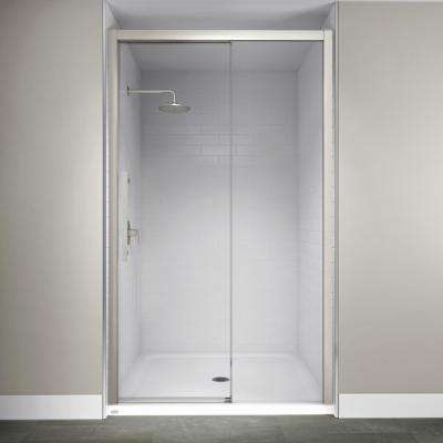 48 in. x 76 in. Semi-Frameless Concealed Sliding Shower Door in Brushed Nickel