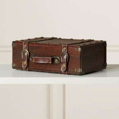 13 W x 4.5 H x 8.5 D Wood Antique Style Small Suitcase
