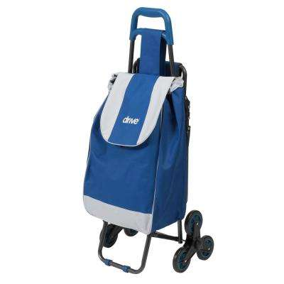 Deluxe Rolling Shopping Cart with Seat in Blue