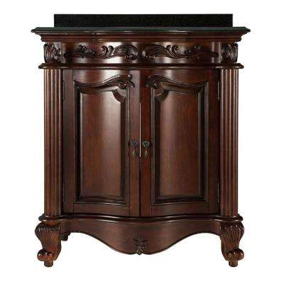 Estates 31 in. Vanity in Rich Mahogany with Granite Vanity Top in Black