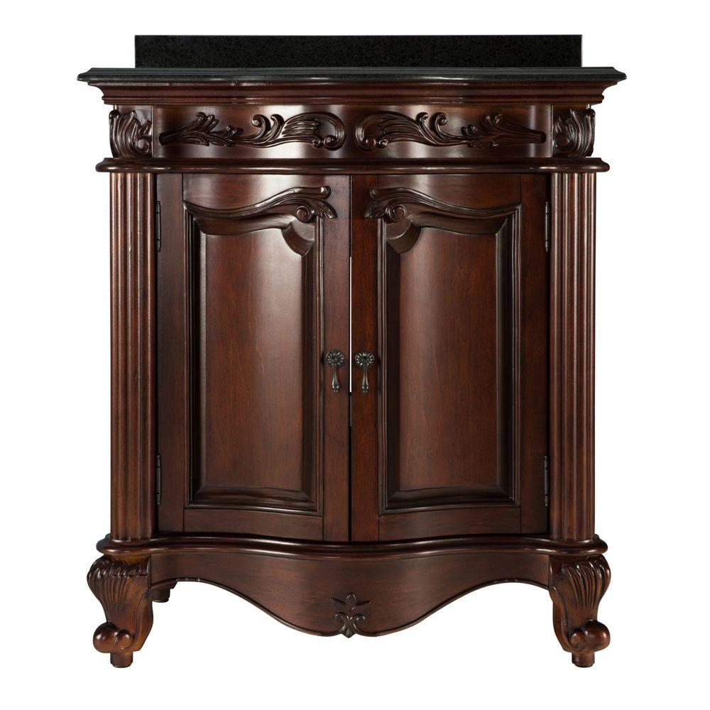 null Estates 31 in. Vanity in Rich Mahogany with Granite Vanity Top in Black