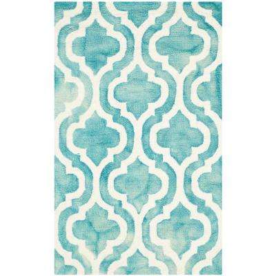 Dip Dye Turquoise/Ivory 3 ft. x 4 ft. Area Rug