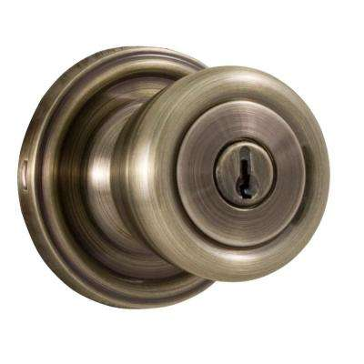 Essentials Antique Brass Keyed Entry Sonic Knob