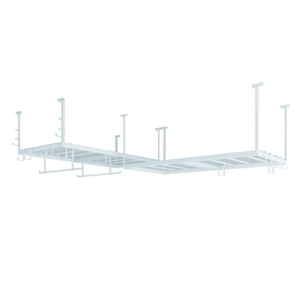 NewAge Products VersaRac 48 in. W x 18 in. H x 192 in. D Ceiling Mounted Steel Set 2 Overhead Rack and 20 Piece Accessory Kit in White