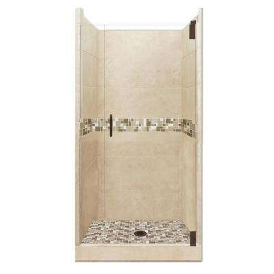Tuscany Grand Hinged 36 in. x 36 in. x 80 in. Center Drain Alcove Shower Kit in Brown Sugar and Old Bronze Hardware