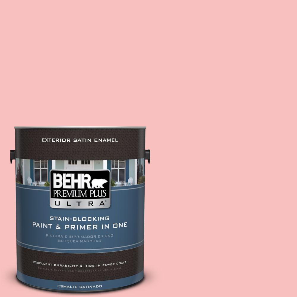 BEHR Premium Plus Ultra 1-gal. #160A-3 Pink Hydrangea Satin Enamel Exterior Paint