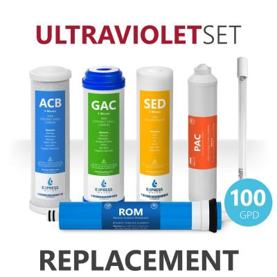 Express Water – 6 Month Ultraviolet Reverse Osmosis System Replacement Filter Set – 6 Filters with 100 GPD RO Membrane