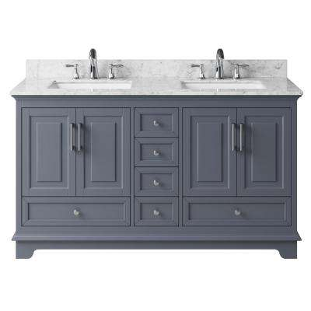 59.29 in. W x 21.65 in. D x 33.86 in. H Bath Vanity in Cashmere Grey w/ Marble Vanity Top in White w/ White Basins