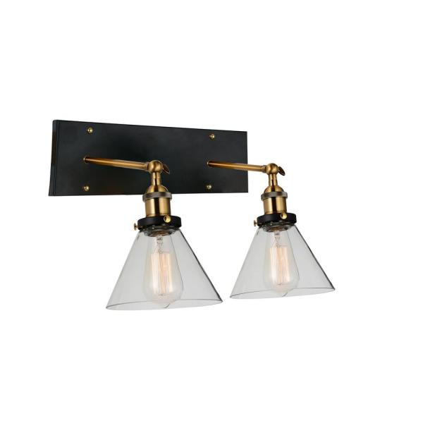 Eustis 2-Light Black and Gold Brass Sconce