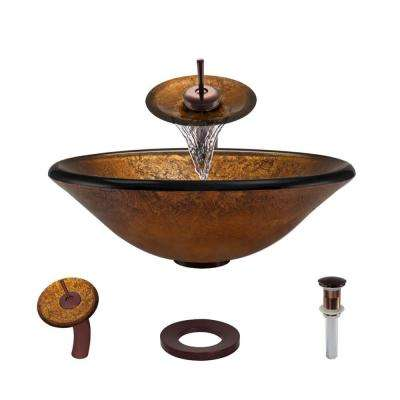 Glass Vessel Sink in Orange Gold Foil with Waterfall Faucet and Pop-Up Drain in Oil Rubbed Bronze