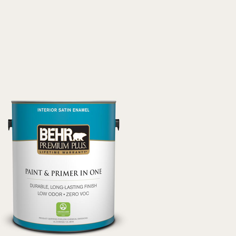 BEHR Premium Plus 1-gal. #PWN-15 Silk Pillow Zero VOC Satin Enamel Interior Paint