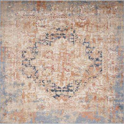 Manor Blue Jerome 7 ft. x 7 ft. Distressed Square Area Rug