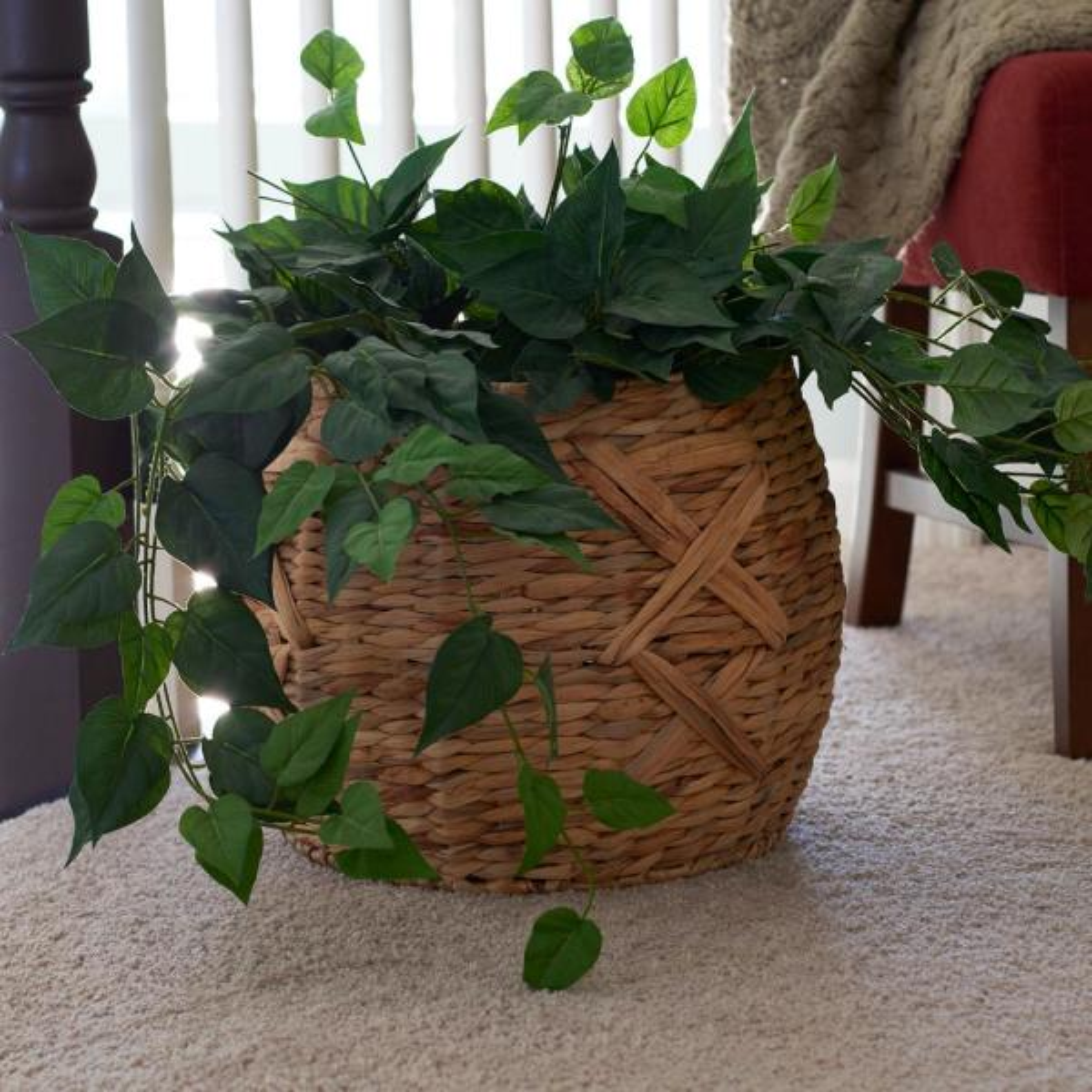 Household Essentials 12 in. x 16 in. Water Hyacinth Round Basket