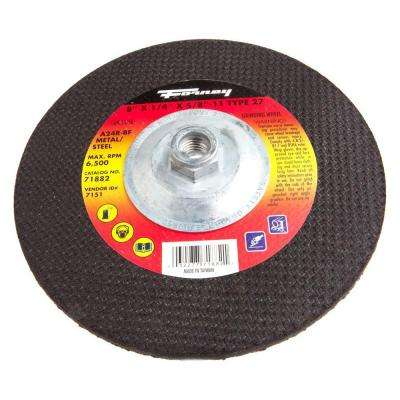 8 in. x 1/4 in. x 5/8 in.-11 Threaded Metal Type 27 A24R Grinding Wheel