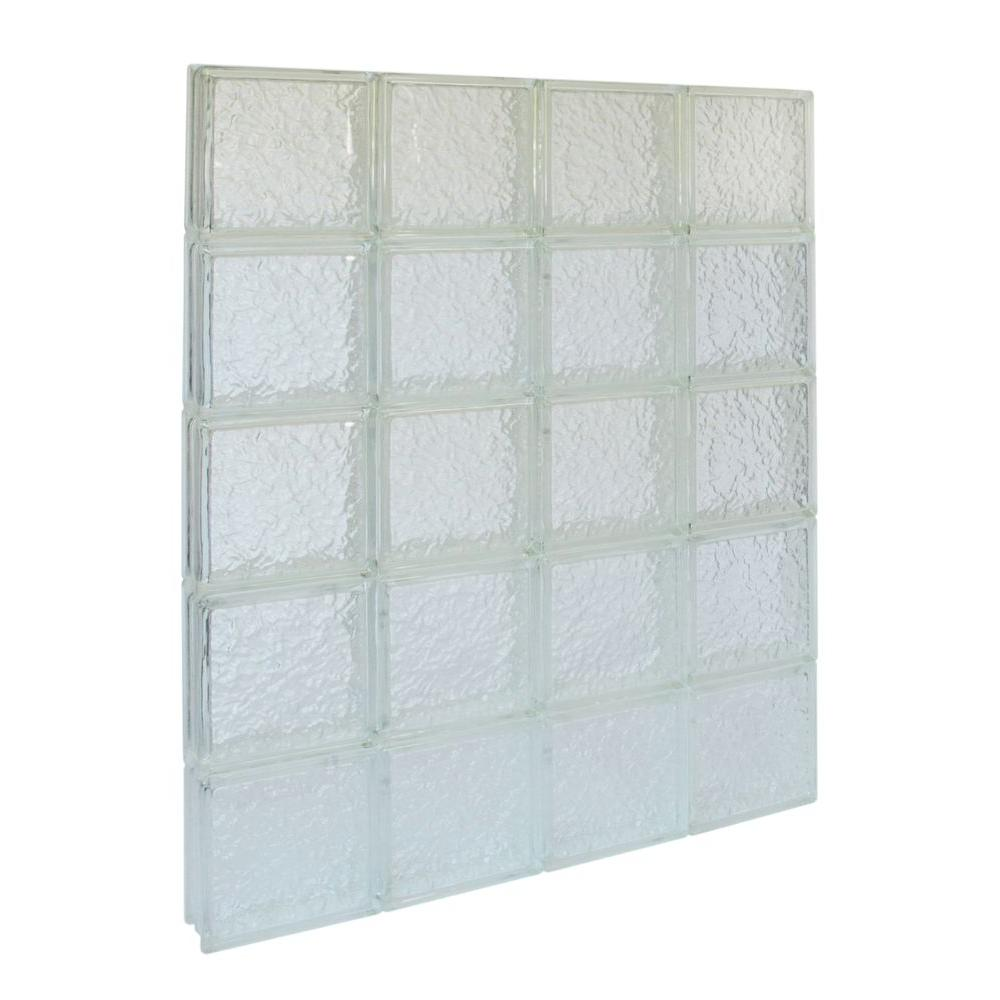 Pittsburgh Corning 31 in. x 39.5 in. x 3 in. GuardWise IceScapes Pattern Solid Glass Block Window