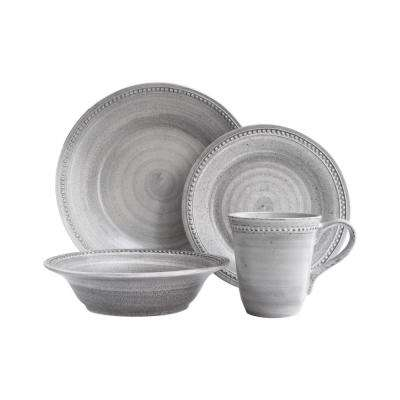 Stone 16-Piece Gray Dinner Set