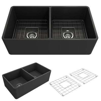 Classico Farmhouse Apron Front Fireclay 33 in. Double Bowl Kitchen Sink with Bottom Grid and Strainer in Matte Dark Gray