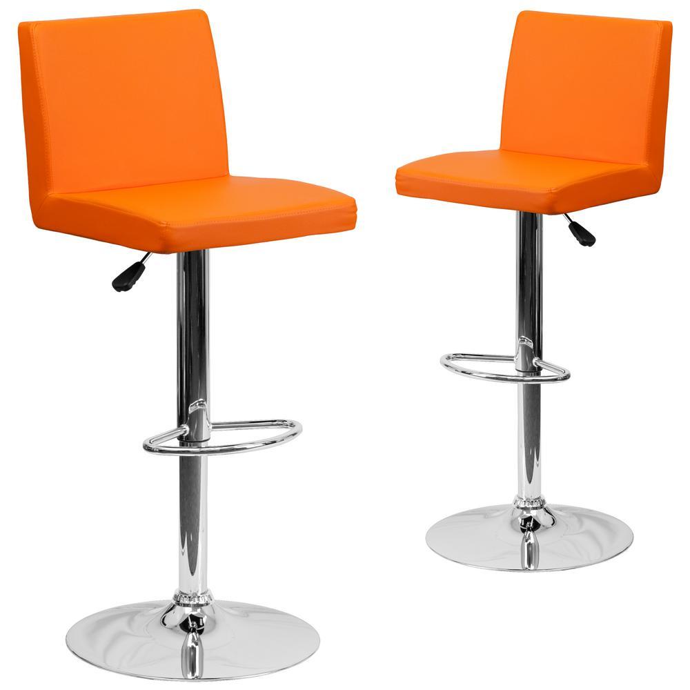 32.25 in. Orange Bar stool (Set of 2)