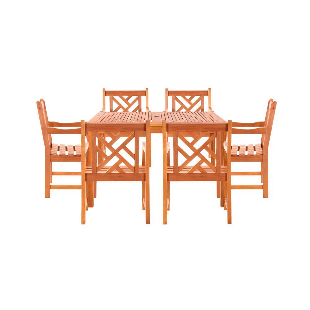 Malibu 7-Piece Wood Rectangle Outdoor Dining Set